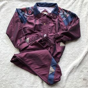 Vintage track suit lined plum small EUC